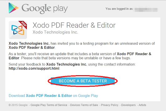 Becoming a beta tester – Feedback for Xodo Docs