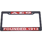 Delta Sigma Theta Founded 1913 Text Decal Plastic License Plate Frame [Black - Car/Truck]