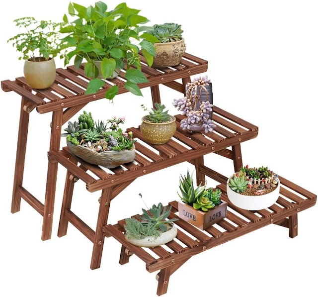 Cheap Ufine Free Standing 3 Tier Step Design Plant Stand Indoor Outdoor