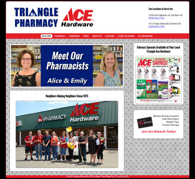 Website Design Update - Triangle Pharmacy Ace Hardware
