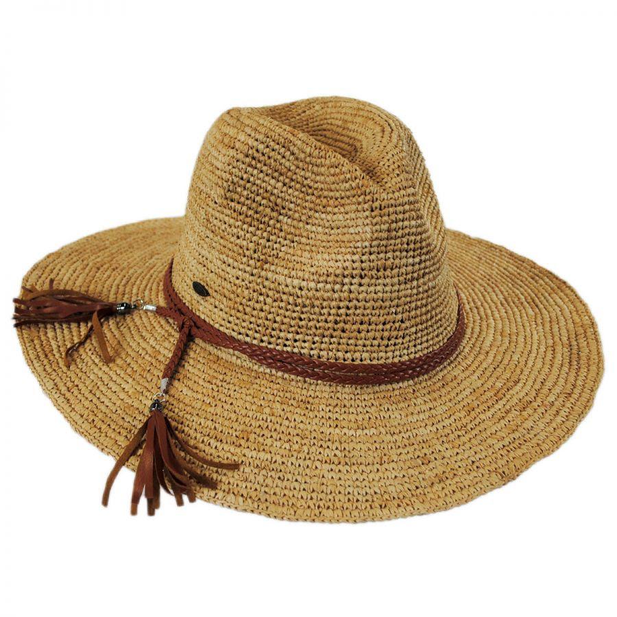 braided leather band organic raffia straw fedora hat