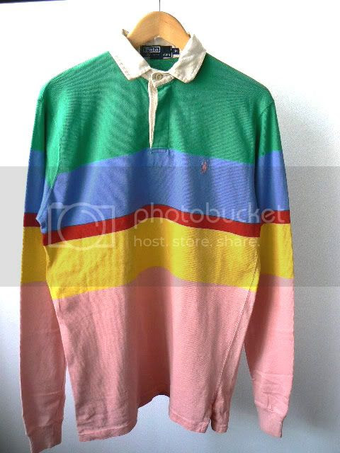 Zone7style Vintage Ralph Lauren Striped Rugby Shirt Top