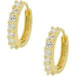 925 Sterling Silver Yellow Gold-Tone White CZ Hoop Huggie Earrings