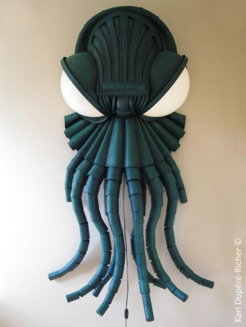 Cthulhu Lamp Sculpture Crafted From Recycled Parts
