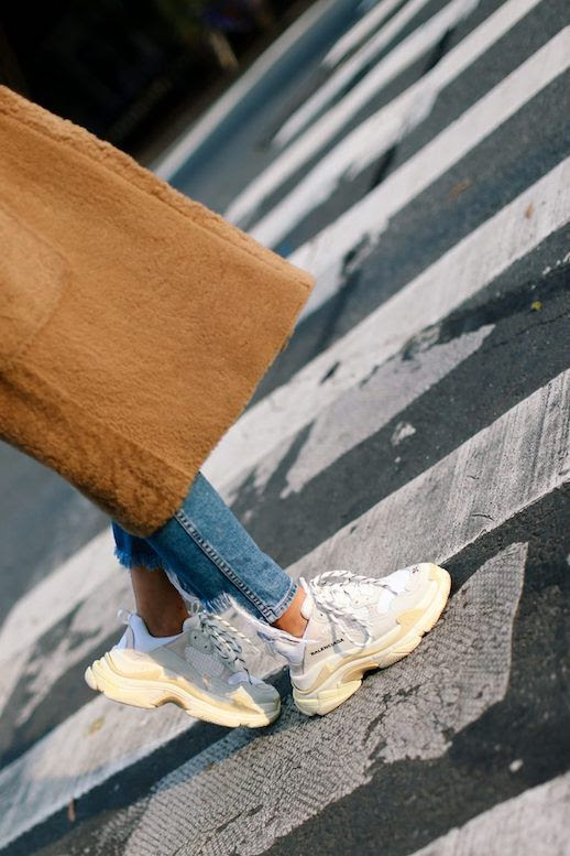 Le Fashion Blog Shop The Ugly Sneaker Trend Brown Coat Raw Hem Jeans Balenciaga Sneakers Via The Fashion Guitar