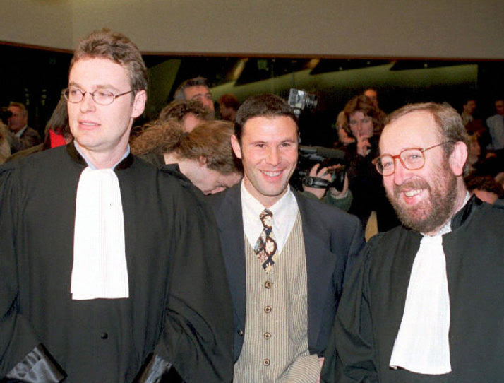 Belgian soccer player Jean-Marc Bosman at the European Court of Justice in December 1995 | STF/AFP via Getty Images
