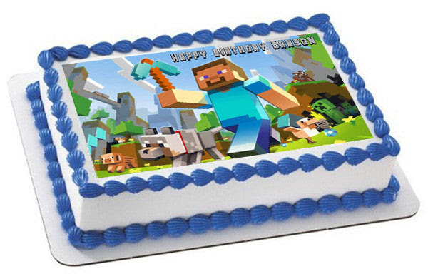 Minecraft Characters 1 Edible Birthday Cake Or Cupcake Topper