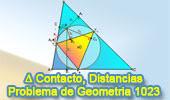 Problema de Geometría 1023 (English ESL): Triangulo de Contacto o  Gergonne, Circunferencia Inscrita, Producto de las distancias a los lados