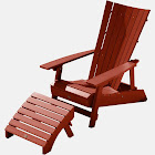 Manhattan Beach Adirondack Chair with Ottoman Rustic Red - highwood