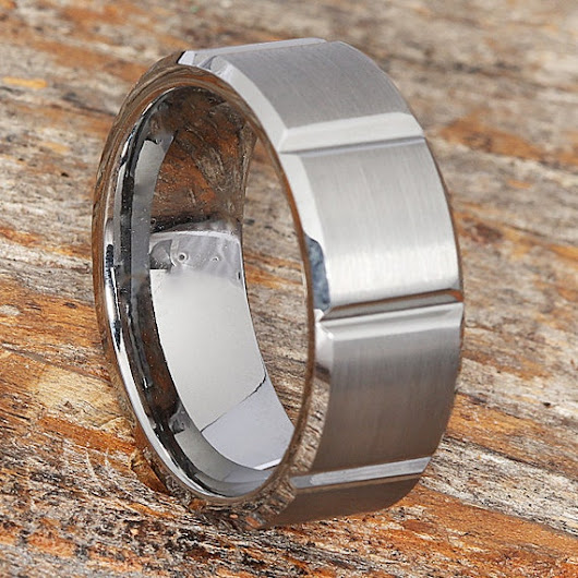 9mm Brushed Tungsten Wedding Band 9mm Width Brushed Polished