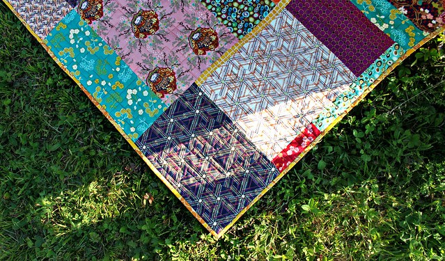 Indie Symmetry Quilt -- bound in Dynasty Saffron