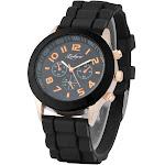 Zodaca Black Unisex Men Women Silicone Jelly Quartz Analog Sports Wrist Watch New