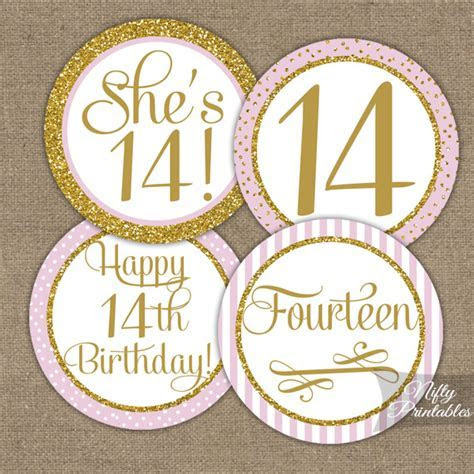 Printable 14th Birthday Cupcake Toppers   Pink Gold