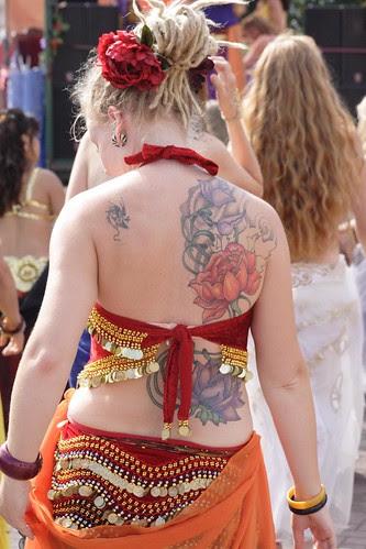 Back Flower Tattoo girl Lower tattoo is