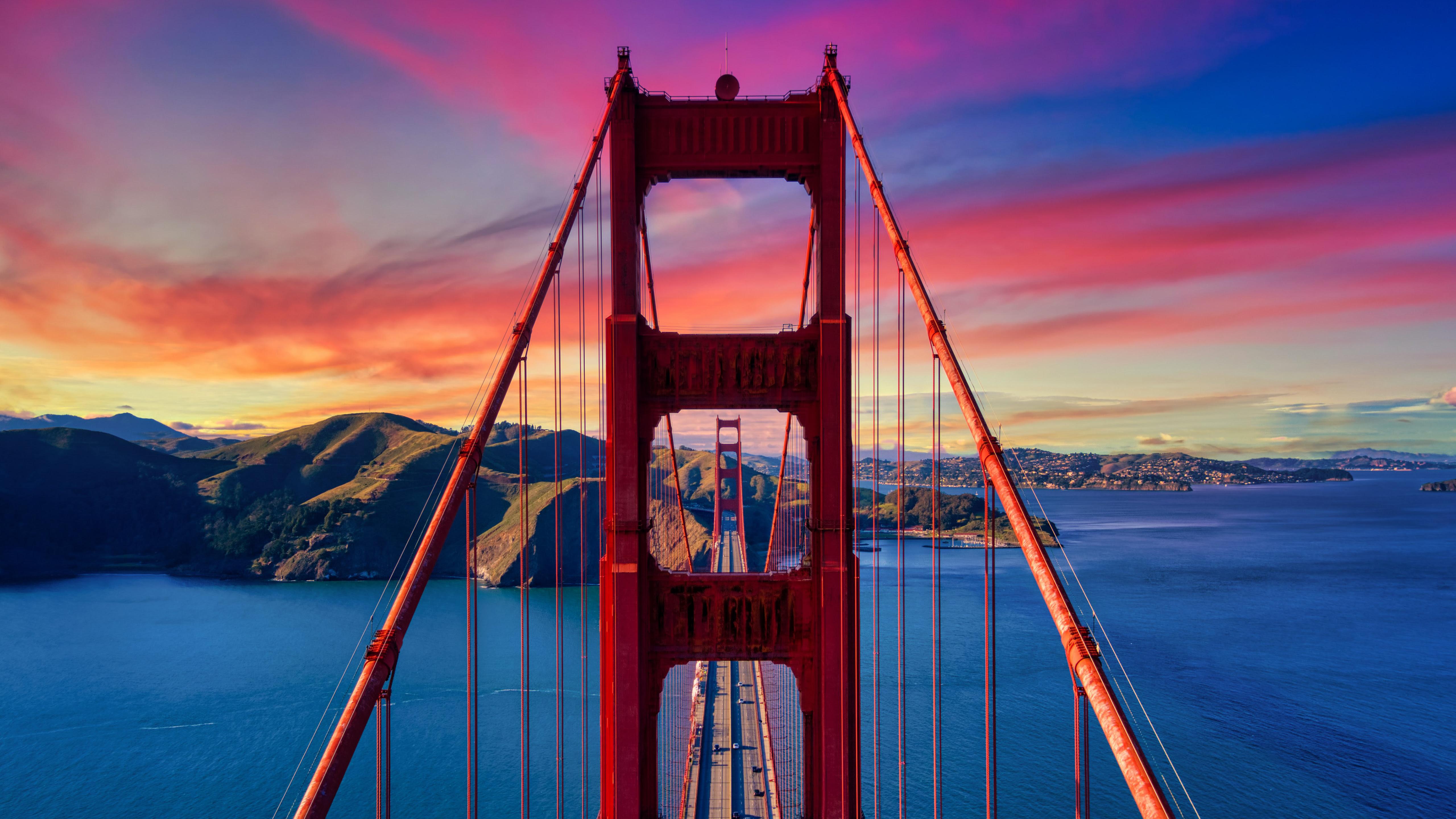 Golden Gate Bridge At Sunset 5k Wallpapers Hd Wallpapers