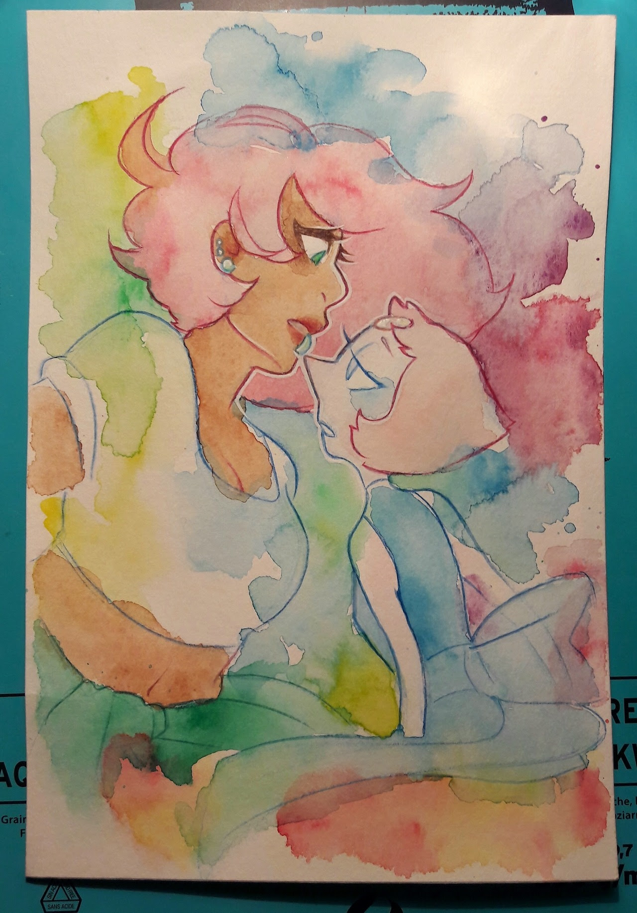 And here's the WiP for last night's watercolor ! I'm so glad I managed to make something messy and that it actually satisfies me.