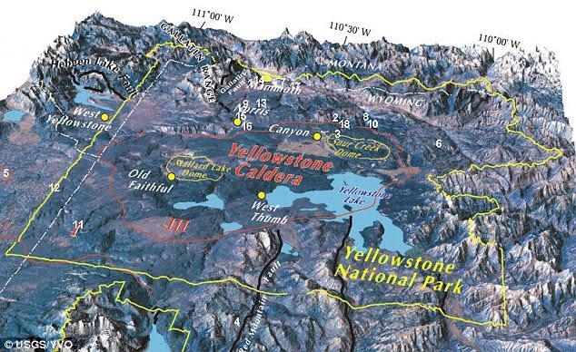 Área de grande beleza natural: A caldeira de Yellowstone (circulado em vermelho) em Wyoming é o maior do mundo super-vulcão