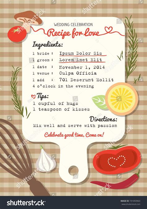 Recipe Card Creative Wedding Invitation Design Stock