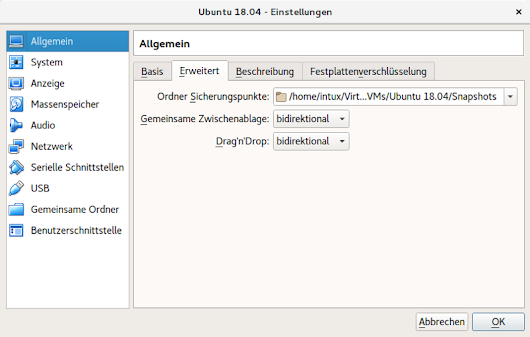 Bidirektionale Zwischenablage in VirtualBox -