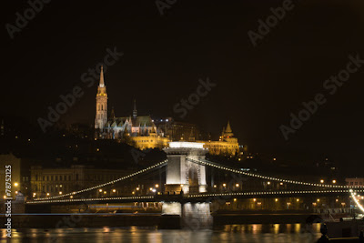 Chain bridge and Castle Hill in Budapest Hungary at night