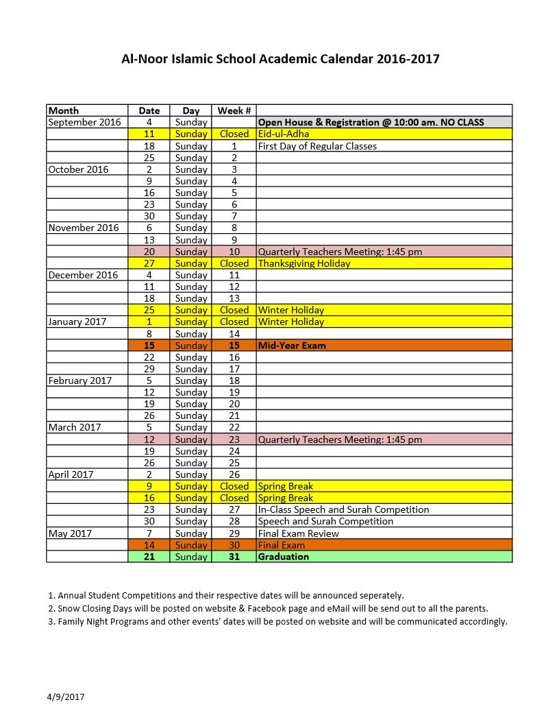 One Page Academic Calendar - Al-Noor Islamic School