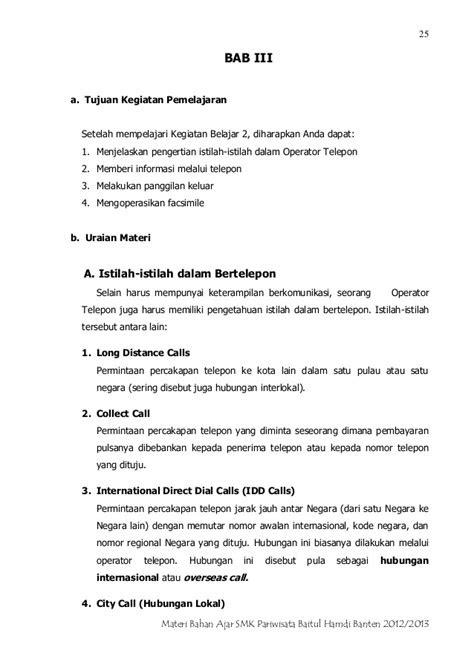 SMK Pariwisata Baitul HAmdi Banten panduan materi