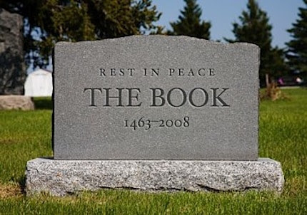 a tombstone for books, rip