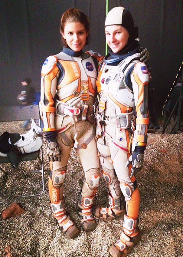 Kate Mara And Her Double Casey Michaels On The Set Of The Martian