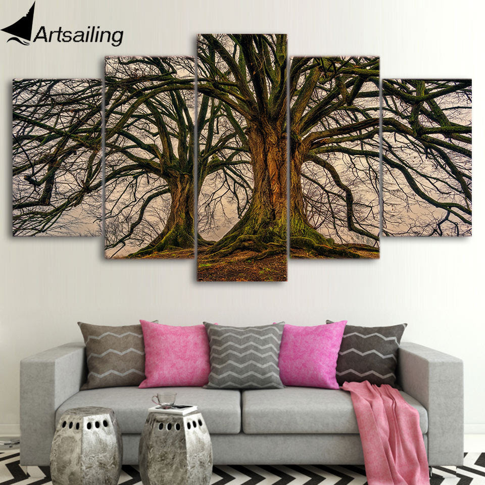 5 Panel Painting Canvas Wall Art Dead Tree Picture Home Decoration Liv Retrodora