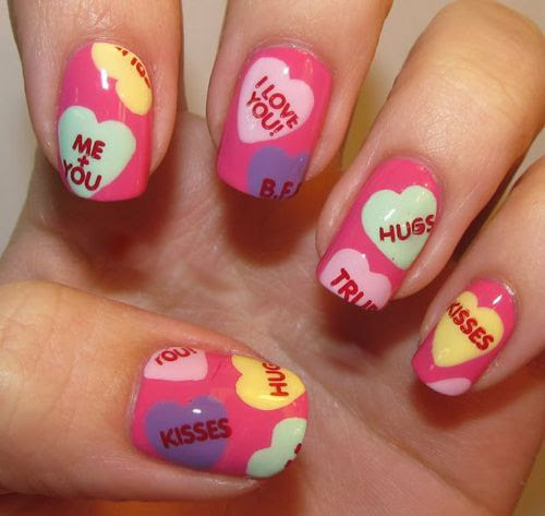 candy heart valentine's nails.. i dont have the skill to do this but, so cute!!