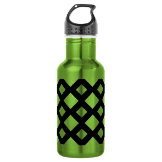 White Diamonds on Black 18oz Water Bottle