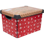 """Simplify """"Santa Clause is Coming to Town"""" Design Storage Tote Bin Red"""
