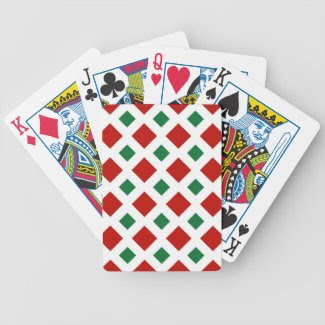 Red and Green Diamonds on White Bicycle Playing Cards