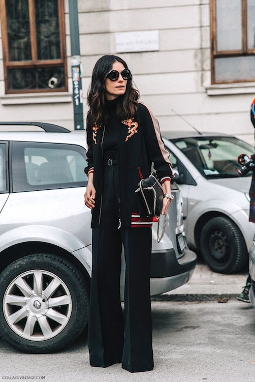 Le Fashion Blog Fall Street Style Mfw Sunglasses Black Embroidered Bomber Jacket Silver Watch Wide Leg Pants Via Collage Vintage