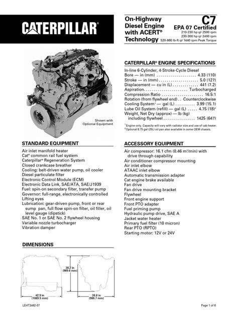 Caterpillar C7 Engine Specs | Horsepower | Engines