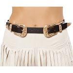 Roma 3354 - Adjustable Double Buckle Belt One Size / Black/Gold