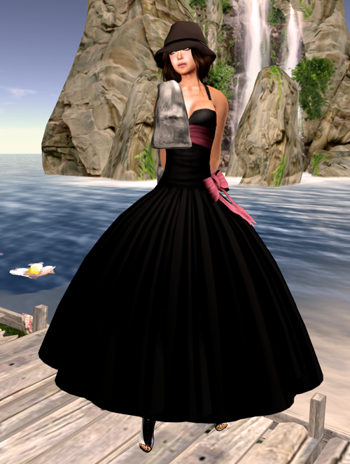 Noir Blanc Evening On The Town Gown - Black/Pink