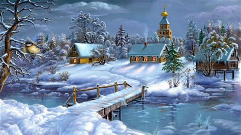 wallpaperlandscape winter frozen river house