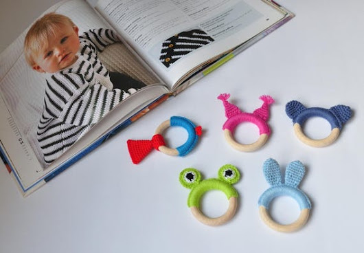 Wood baby teether Montessori toy for baby Teething ring