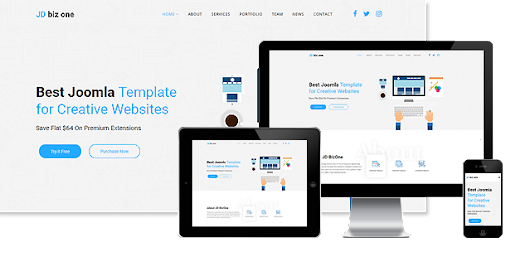 One Page Joomla! Template - JD Biz One
