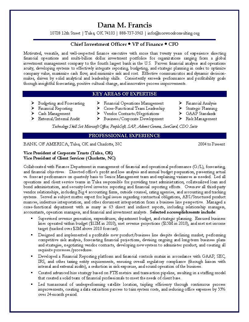 vp finance resume