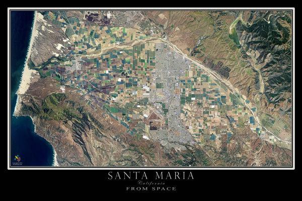 Santa Maria California Satellite Poster Map Aerial Views
