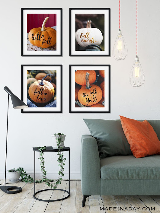 Popular Fall Sayings Pumpkin Wall Art Printables