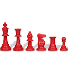 """Red Club Plastic Chess Pieces with 3.75"""" King - 17 Piece Half Set"""