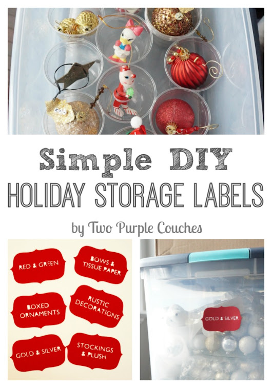 Simple DIY Holiday Storage Labels - two purple couches