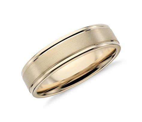 Brushed Inlay Wedding Ring in 14k Yellow Gold (6mm)   Men