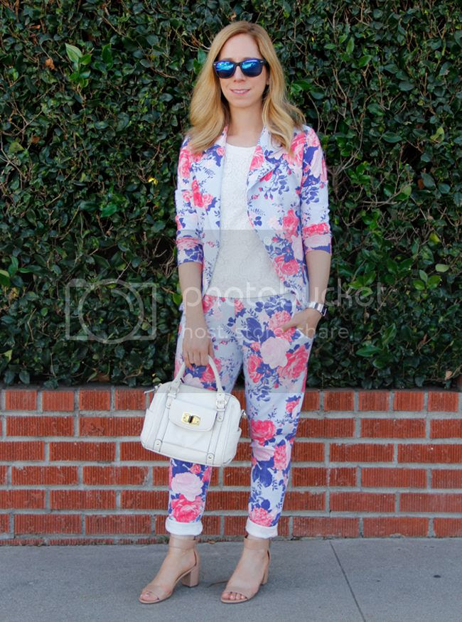Boohoo Lola floral blazer and trousers on The Key To Chic