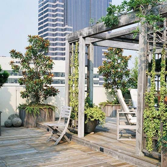 balcony and roof terrace design light wood pergola gray