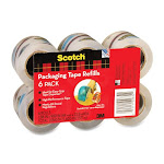 "Scotch Easy-grip Packaging Tape Dispenser Refill - 2"" Width X 75 Ft Length - 6 / Pack - Clear (DP1000RF6)"
