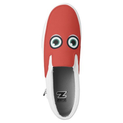 Monogram. Funny Big Eyes Monster. Slip-On Sneakers